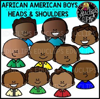 African American Boys Heads & Shoulders Clip Art Set {Educlips Clipart}.