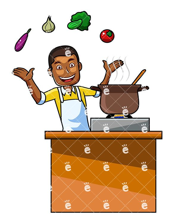 A Black Male Cooking With Vegetables.