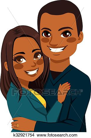 African American Couple Hugging Clipart.