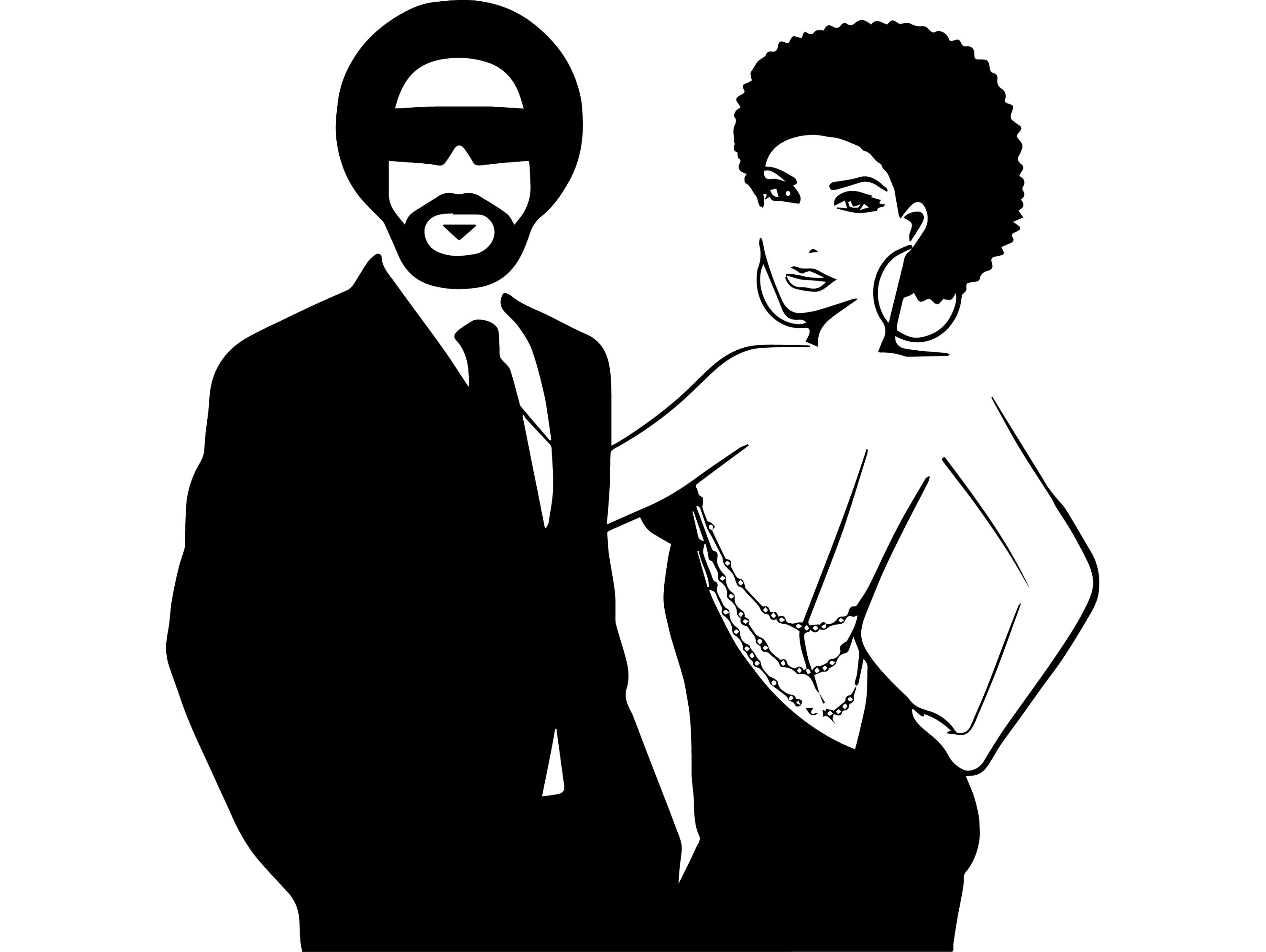 Black Couple Business Suits Queen King Kiss Afro Hair African American  Female Male SVG .EPS .PNG Vector Clipart Digital Circuit Cut Cutting.
