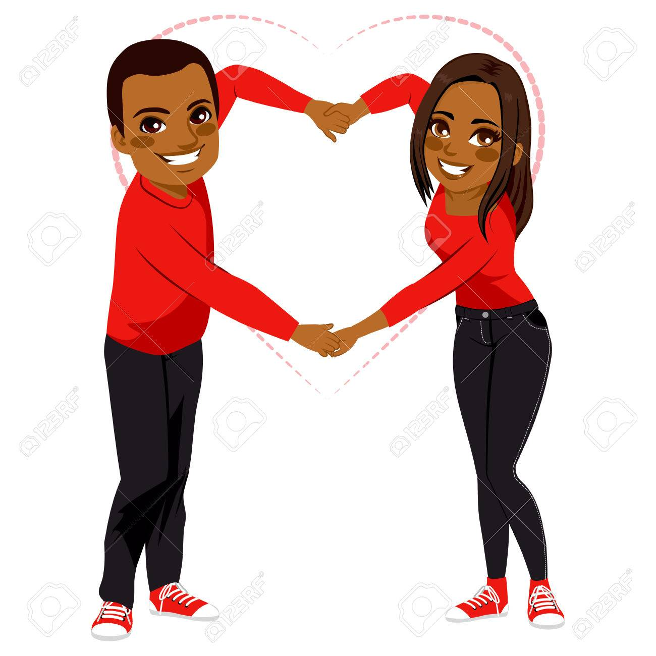 Lovely African American couple with red shirt and dark jeans...