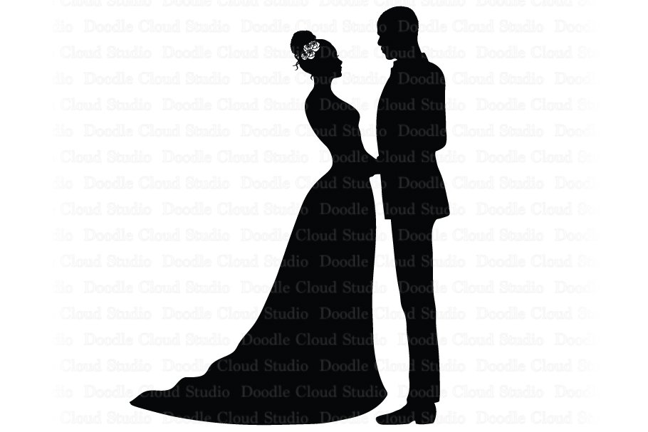 Bride and Groom SVG, Black Couple..