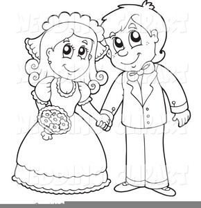 African American Wedding Couples Clipart.
