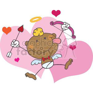 African American Cupid Male with Bow and Arrow Flying clipart.