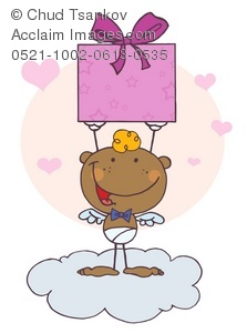 Clipart Illustration of A Smiling African American Cupid With a.