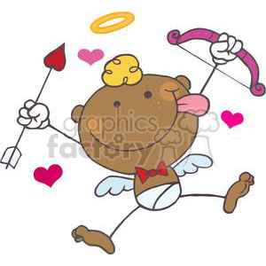 African American Cupid with Bow and Arrow With Hearts clipart. Royalty.