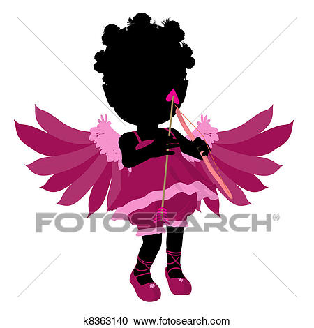 Little African American Cupid Girl Illustration Silhouette Clipart.