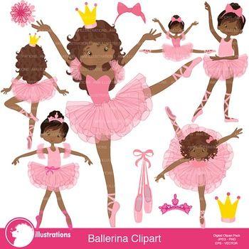 Ballet Clipart, Ballerina, Dancer Clipart, African American.