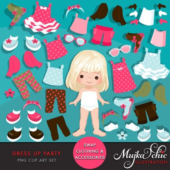 Paper doll clipart. Little Girls Dressing Party Graphics.