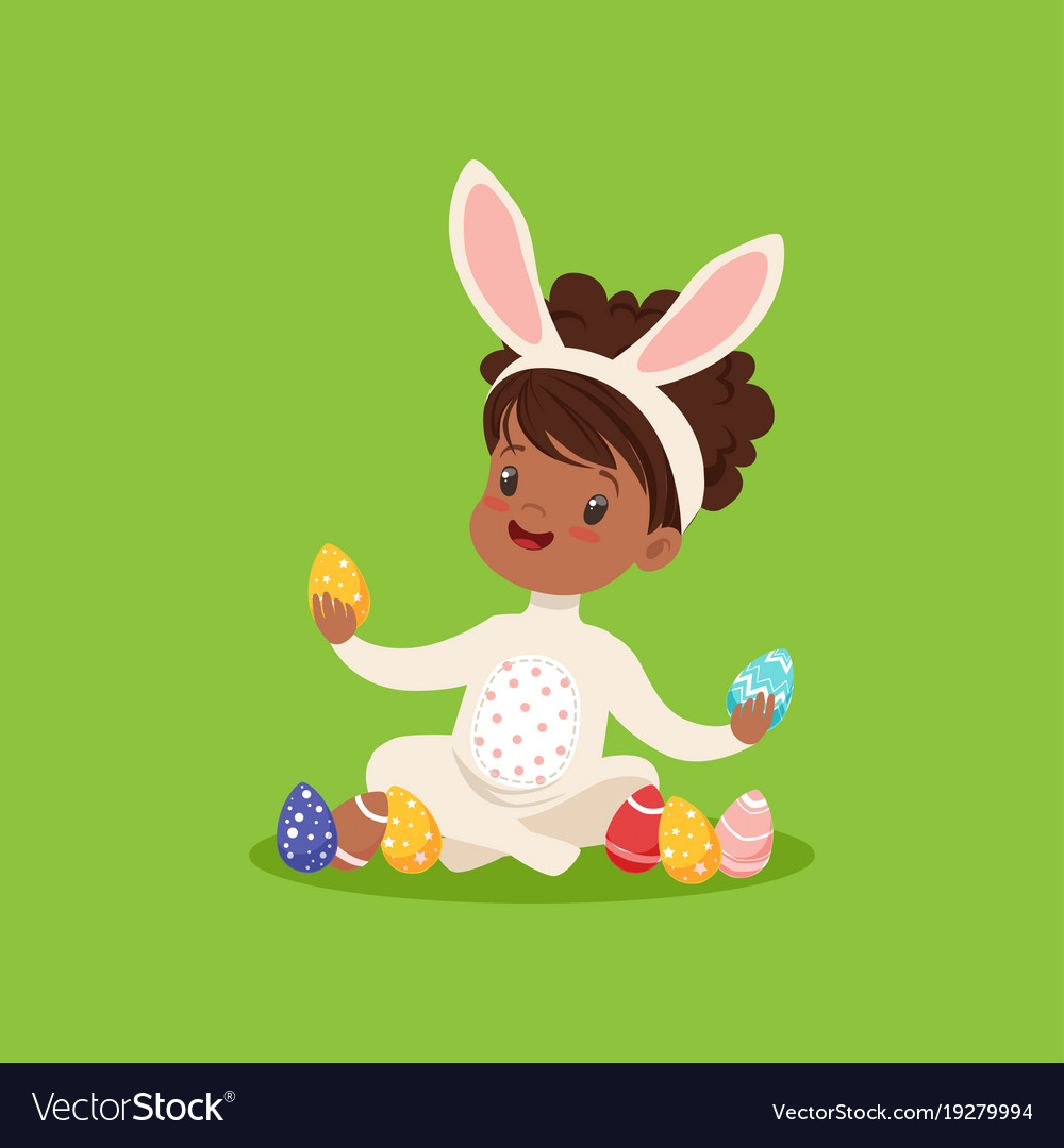 Sweet little african american girl with bunny ears.