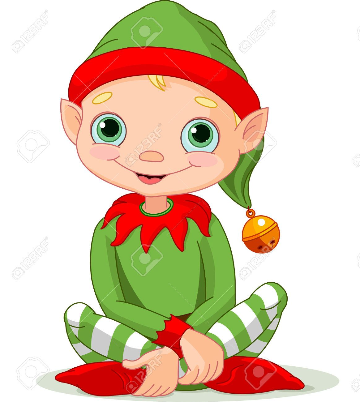 African American Christmas Elf clipart.