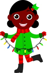 Cute black girl all dressed up for the holidays stringing.
