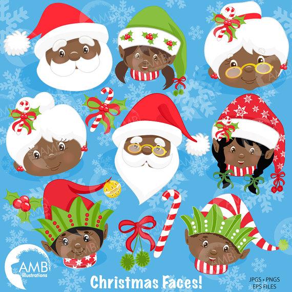 Christmas Clipart, African American Santa, Christmas Elf.