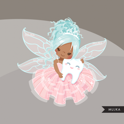 Tooth Fairy Clipart, cute fairy graphics African American.