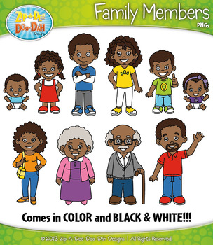 African American Family Characters Clipart {Zip.