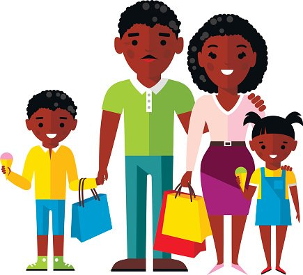 Shopping Concept With African American Family premium clipart.