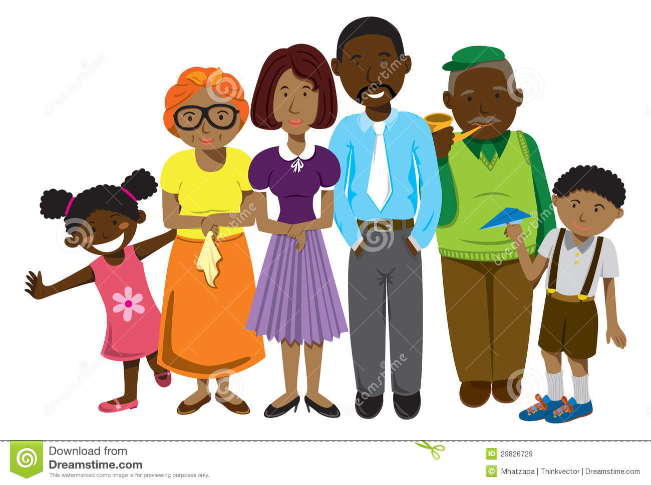 African American Family And Friends Clipart.