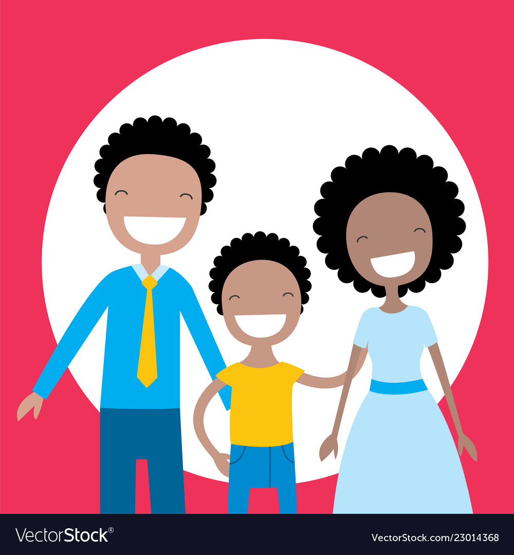 Happy african american family parents and their.