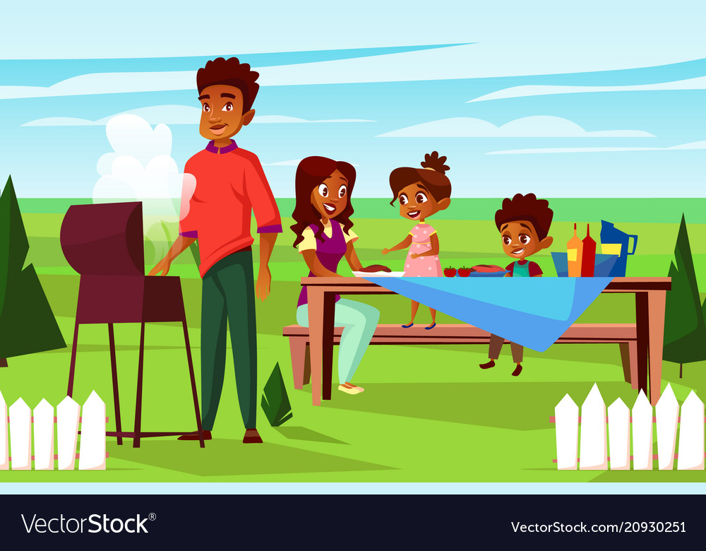 Cartoon african family at picnic bbq party.