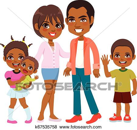 Cute Smiling African American Family Clip Art.