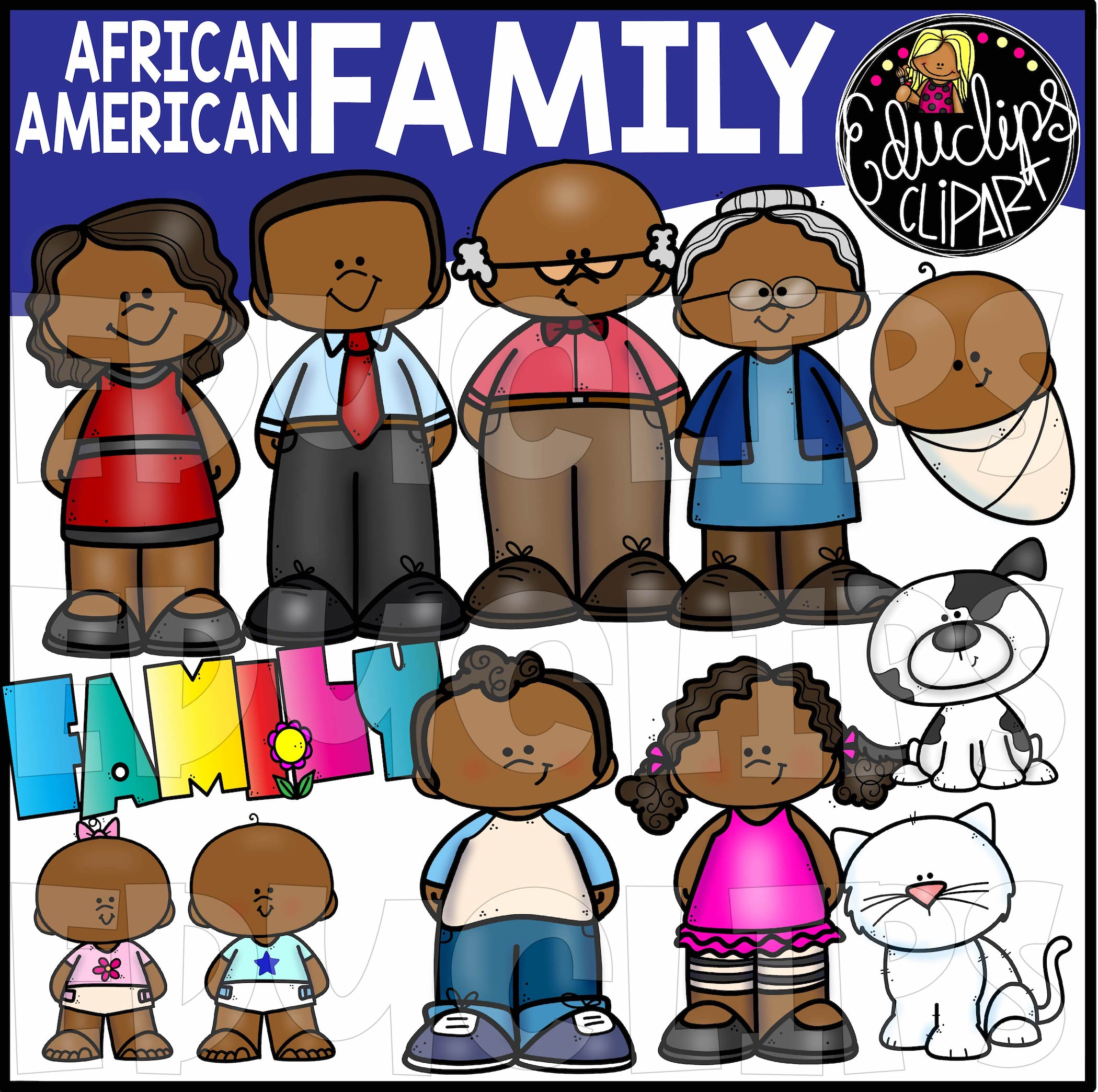 African American Family Clip Art Bundle (Color and B&W).