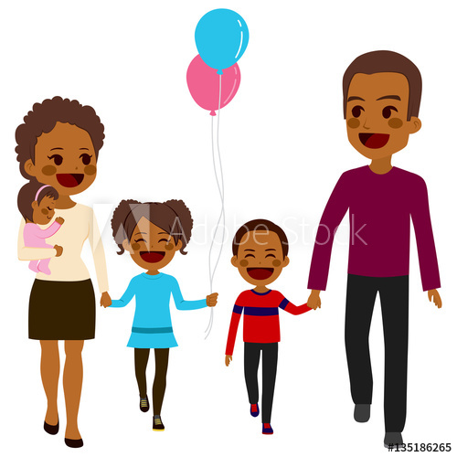 Cute happy five member African American family walking together.