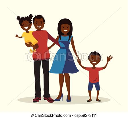 Father, mother, son and daughter. African.
