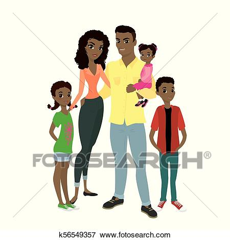 African American family. Clip Art.