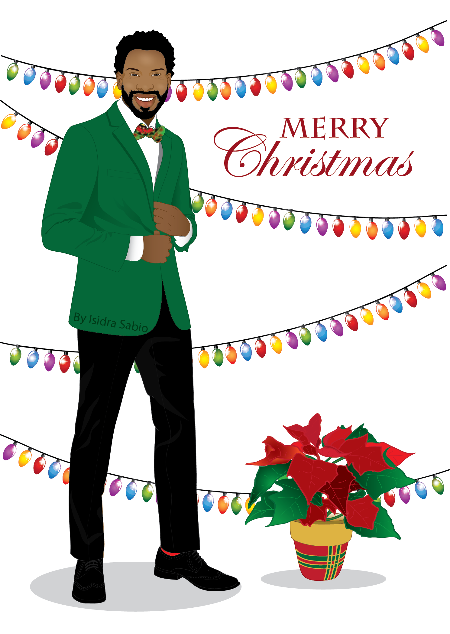 Afrocentric Christmas card for men. Handsome and elegant.