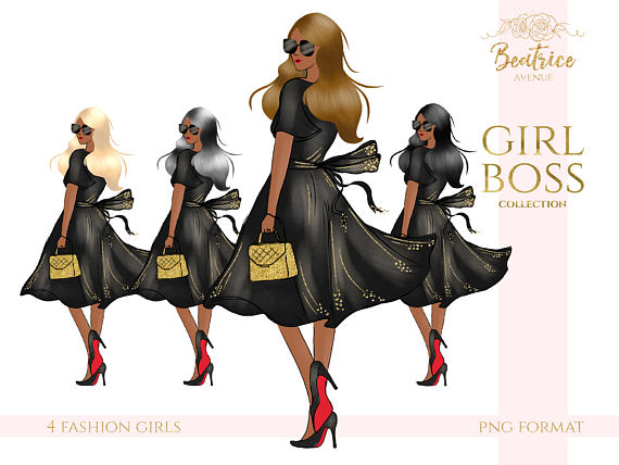 African American clipart girl boss clipart fashion clipart.