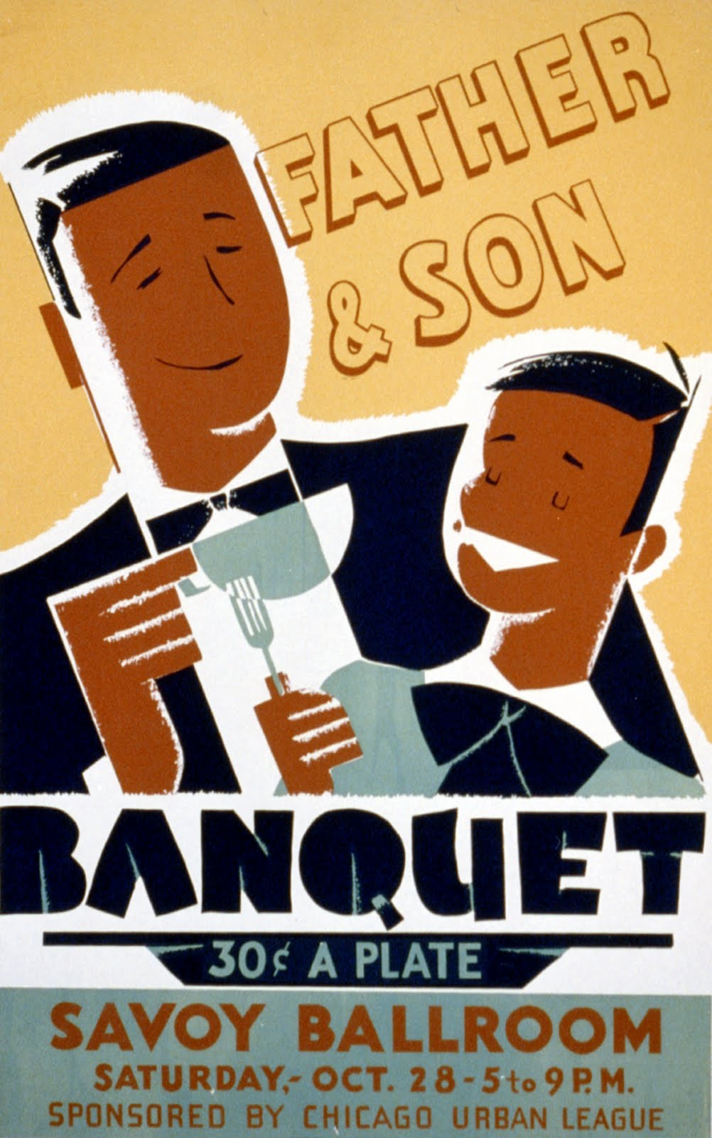 African American Father & Son Banquet Poster Public Domain Clip Art.