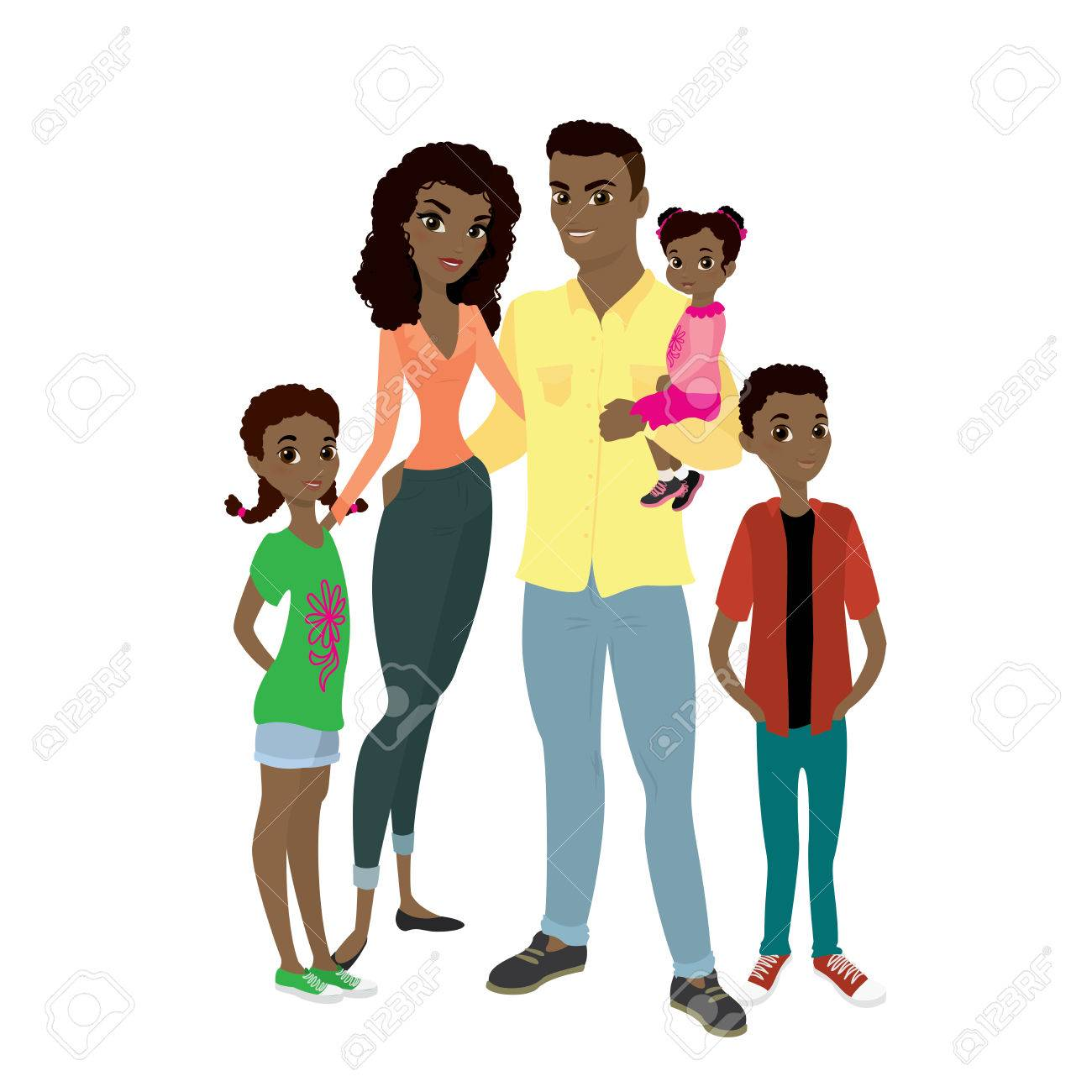 African American family. Father, mother, son and daughters.Cartoon...