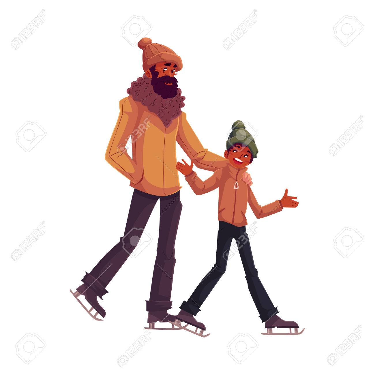 Happy black father and son ice skating together, cartoon vector...