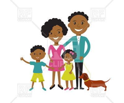 Happy African American family: father, mother, son and daughter Vector  Image.