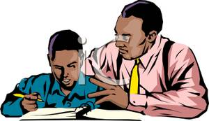 A Colorful Cartoon of an African American Father Helping His.