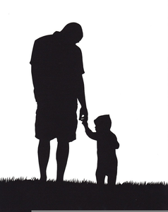 African American Father And Son Clipart.