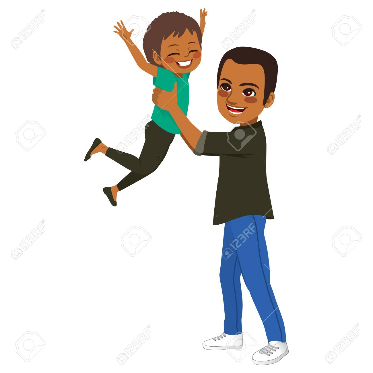 Young African American father holding daughter up playing flying.