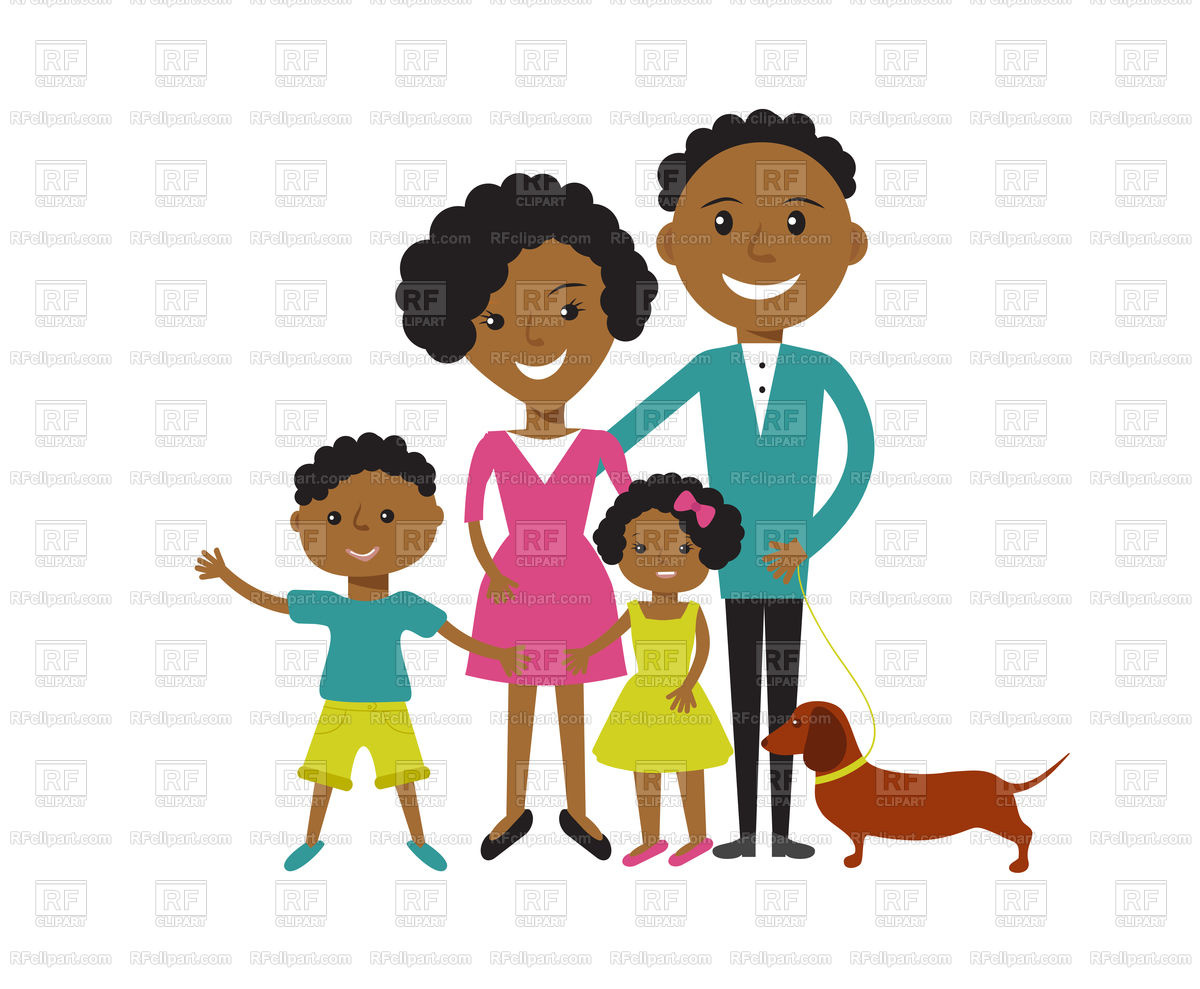 Happy African American family: father, mother, son and daughter Stock  Vector Image.