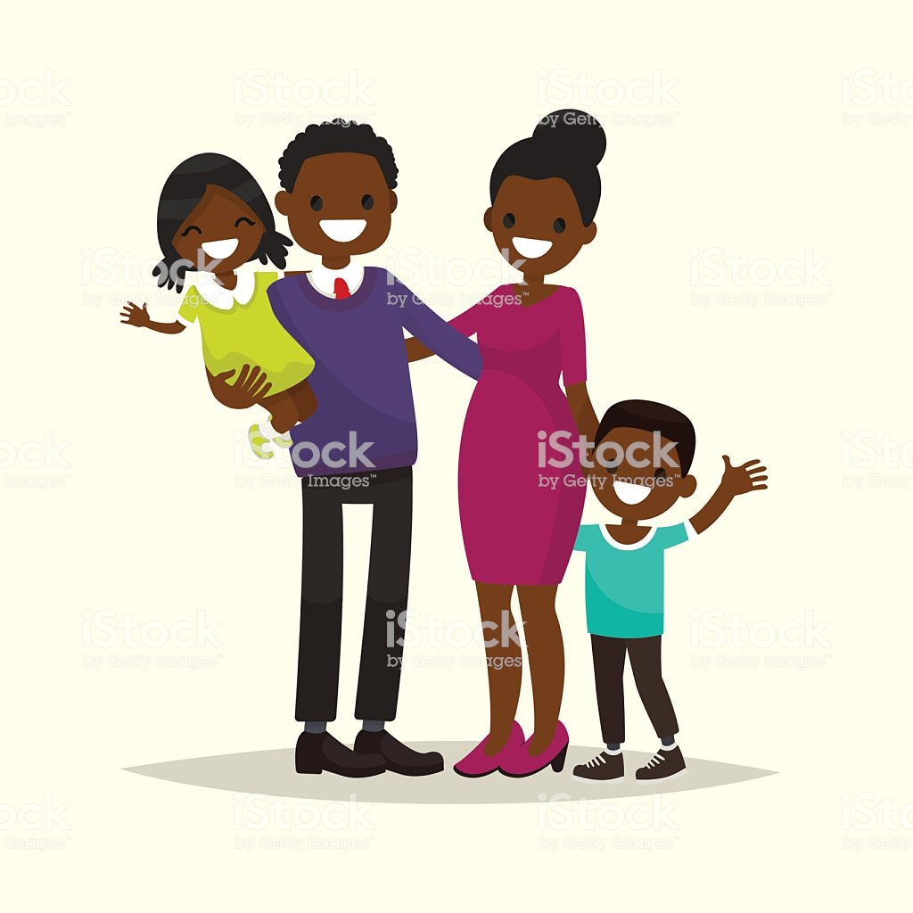 African American Family Father Mother Son And Daughter Stock.