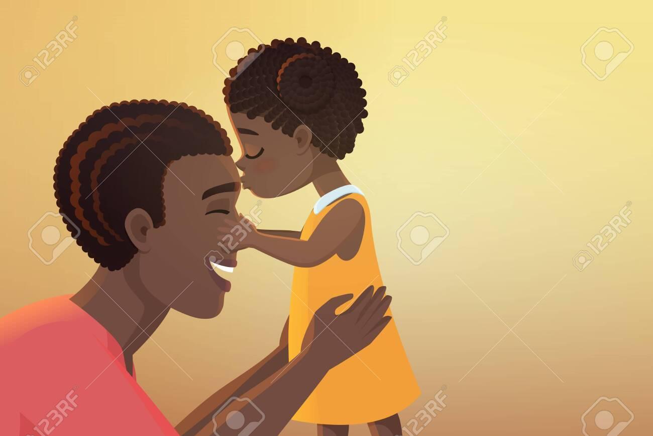 Cute little black african american daughter girl kid kisses her...