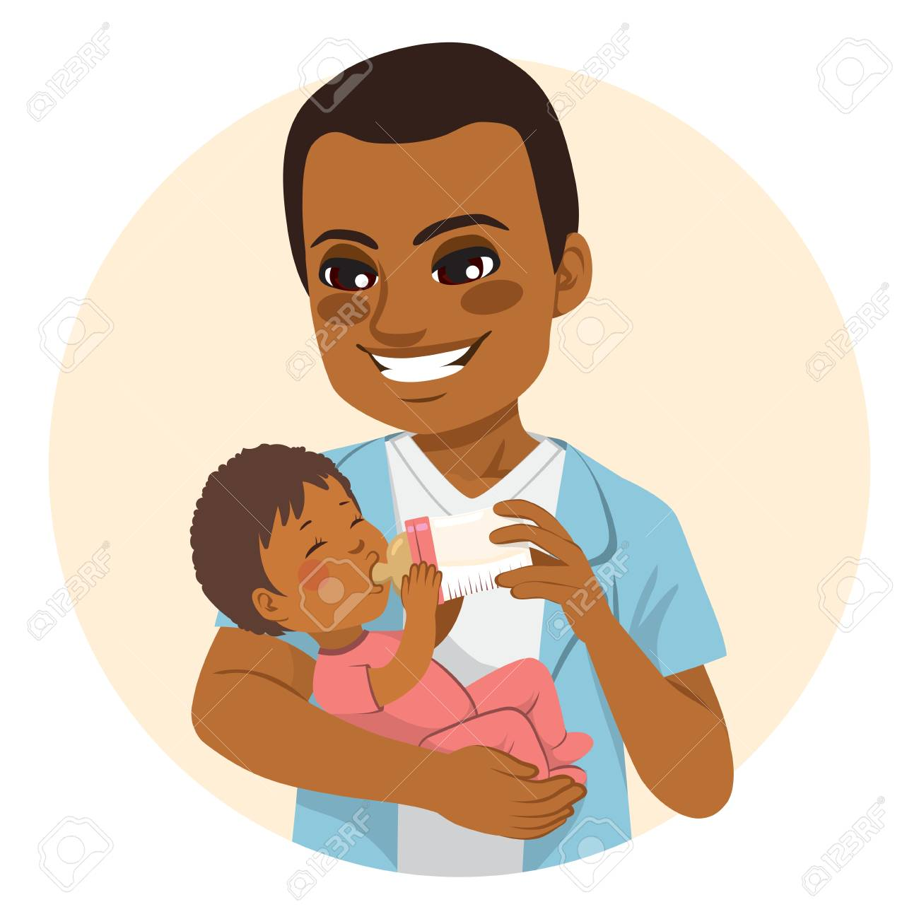 Young African American father happy feeding cute little baby...