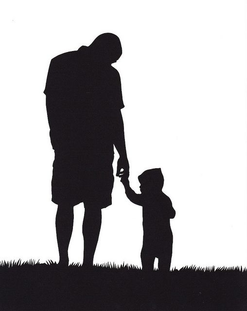 father and son silhouette.