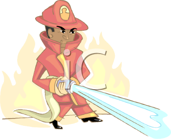 Royalty Free Clipart Image: African American Firefighter.
