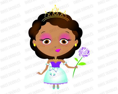 Princess Girl African American with Dark Black Hair wearing.