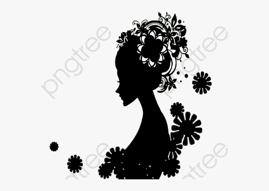Black Flower Girl Silhouette, Flower Clipart, Black,.