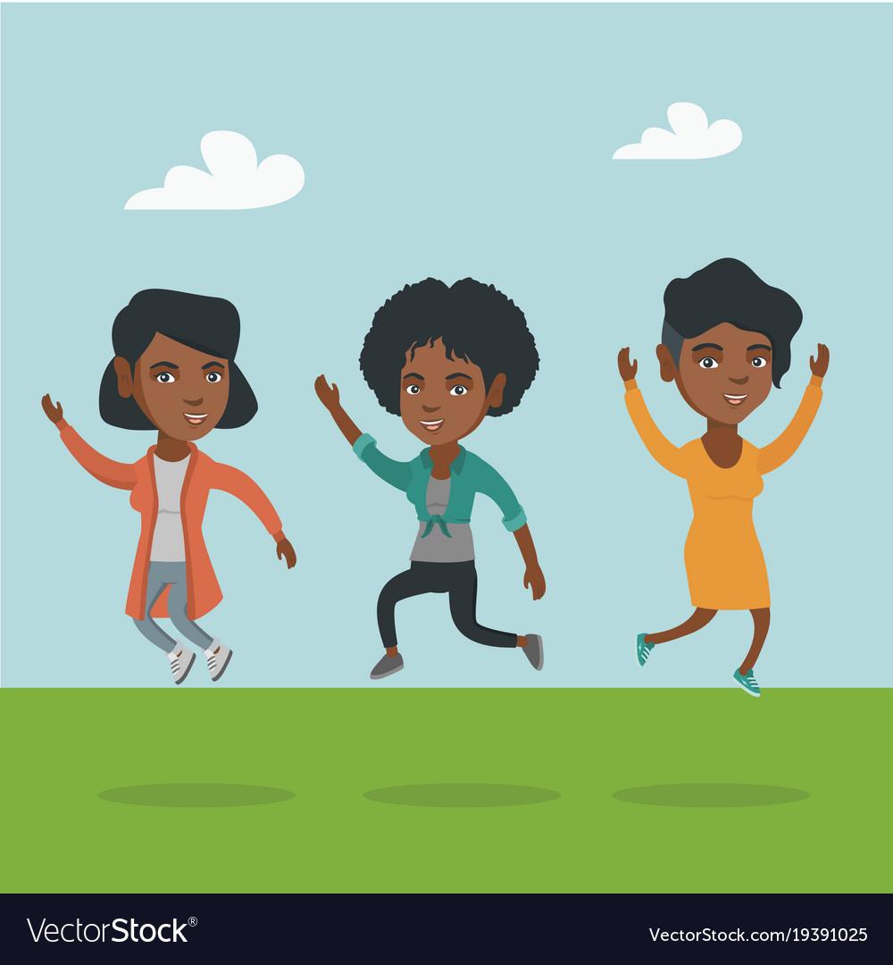 Group of joyful african.