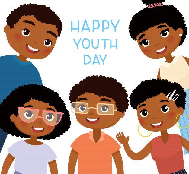 Happy youth day. five african american young women and young.