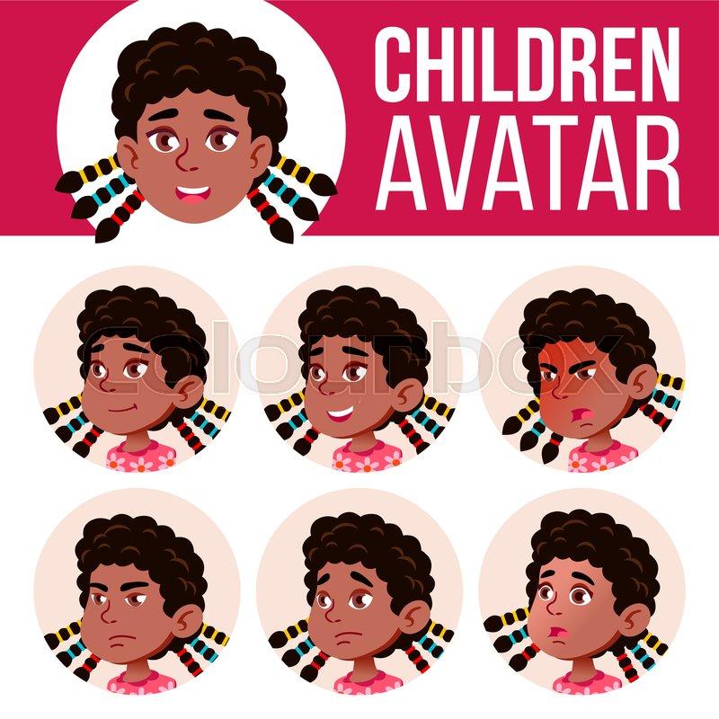 Girl Avatar Set Kid Vector. Black..