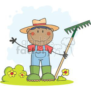African American Gardener holding a rake clipart. Royalty.