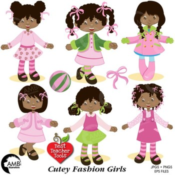 Fashion Clipart, African American Girls Clipart, AMB.